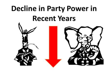 Decline in Party Power in Recent Years. The adoption of the Direct Primary The nomination process to select candidates for office use to be accomplished.