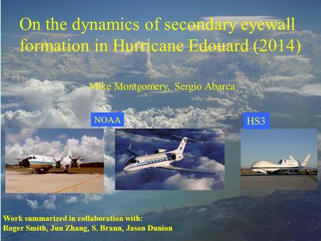 Work summarized in collaboration with: Roger Smith, Jun Zhang, S. Braun, Jason Dunion On the dynamics of secondary eyewall formation in Hurricane Edouard.