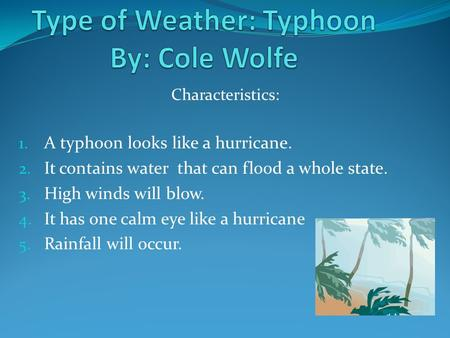 Characteristics: 1. A typhoon looks like a hurricane. 2. It contains water that can flood a whole state. 3. High winds will blow. 4. It has one calm eye.