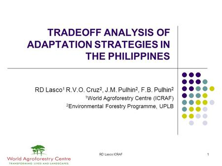 RD Lasco ICRAF1 TRADEOFF ANALYSIS OF ADAPTATION STRATEGIES IN THE PHILIPPINES RD Lasco 1 R.V.O. Cruz 2, J.M. Pulhin 2, F.B. Pulhin 2 1 World Agroforestry.