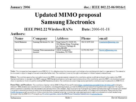 Doc.: IEEE 802.22-06/0016r1 Submission January 2006 David MazzareseSlide 1 Updated MIMO proposal Samsung Electronics IEEE P802.22 Wireless RANs Date: 2006-01-18.