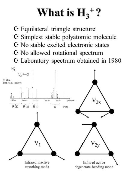 T. Oka, PRL 45,531 (1980) What is H 3 + ?  2y 2x  Equilateral triangle structure  Simplest stable polyatomic molecule  No stable excited electronic.