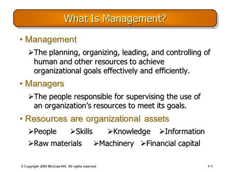 © Copyright 2004 McGraw-Hill. All rights reserved.1–11–1 What Is Management? ManagementManagement  The planning, organizing, leading, and controlling.