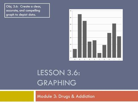 LESSON 3.6: GRAPHING Module 3: Drugs & Addiction Obj. 3.6: Create a clear, accurate, and compelling graph to depict data.