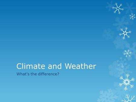 Climate and Weather What's the difference?. Weather  is the condition of the atmosphere which lasts over a short time period and for a small area  consists.