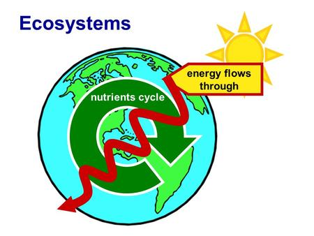 Biosphere constant input of energy energy flows through nutrients cycle Ecosystems.