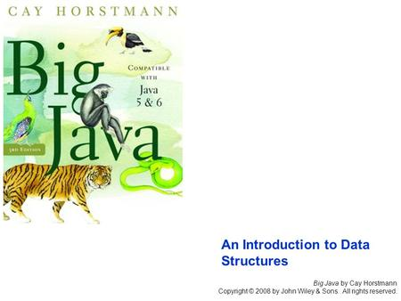 Big Java by Cay Horstmann Copyright © 2008 by John Wiley & Sons. All rights reserved. An Introduction to Data Structures.