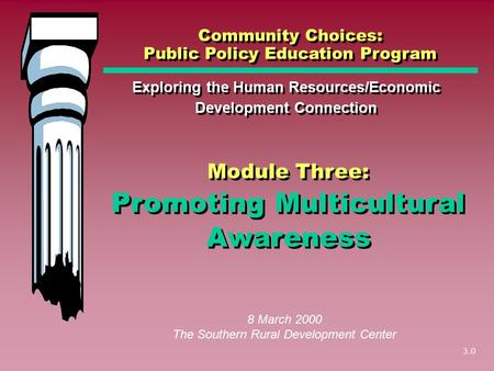 3.0 Promoting Multicultural Awareness Exploring the Human Resources/Economic Development Connection Community Choices: Public Policy Education Program.