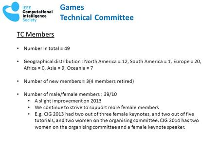 Games Technical Committee TC Members Number in total = 49 Geographical distribution : North America = 12, South America = 1, Europe = 20, Africa = 0, Asia.