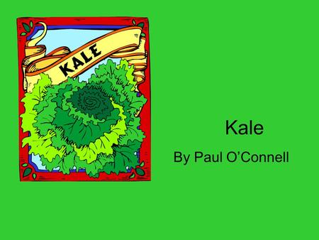 Kale By Paul O'Connell. What is Kale??? Leafy green vegetable In same family with cauliflower and cabbage In season from middle of winter to beginning.