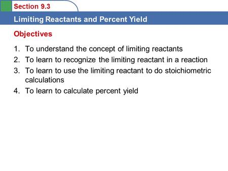 Objectives To understand the concept of limiting reactants
