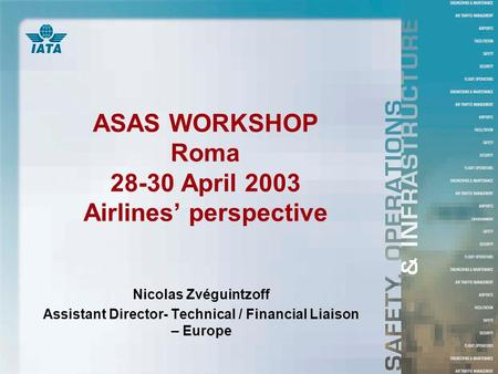 ASAS WORKSHOP Roma 28-30 April 2003 Airlines' perspective Nicolas Zvéguintzoff Assistant Director- Technical / Financial Liaison – Europe.