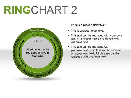 RINGCHART 2 Future Release Release 2 &3 Release 1 All phrases can be replaced with your own text. This is a placeholder text  This is a placeholder text.