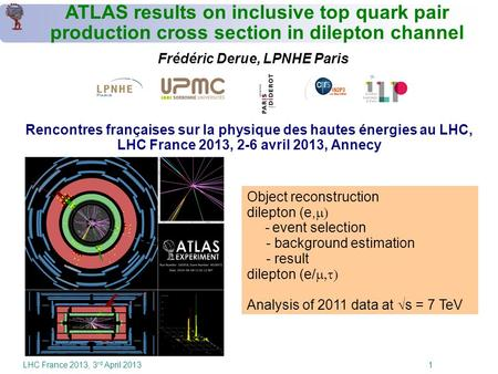 LHC France 2013, 3 rd April 2013 1 ATLAS results on inclusive top quark pair production cross section in dilepton channel Frédéric Derue, LPNHE Paris Rencontres.