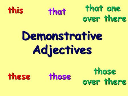 DemonstrativeAdjectives this that thesethose that one over there those.