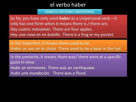 El verbo haber So far, you have only used haber as a unipersonal verb – it only has one form when it means there is / there are. Hay cuatro manzanas. There.