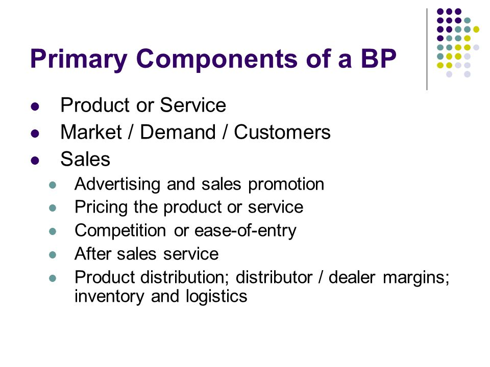 Primary Components of a BP (Contd.) Sales Projections / Forecasts Key Personnel Financial Appraisal (Profit & Loss Statement) Executive Summary what is your product and how does it provide value to the targeted customers.