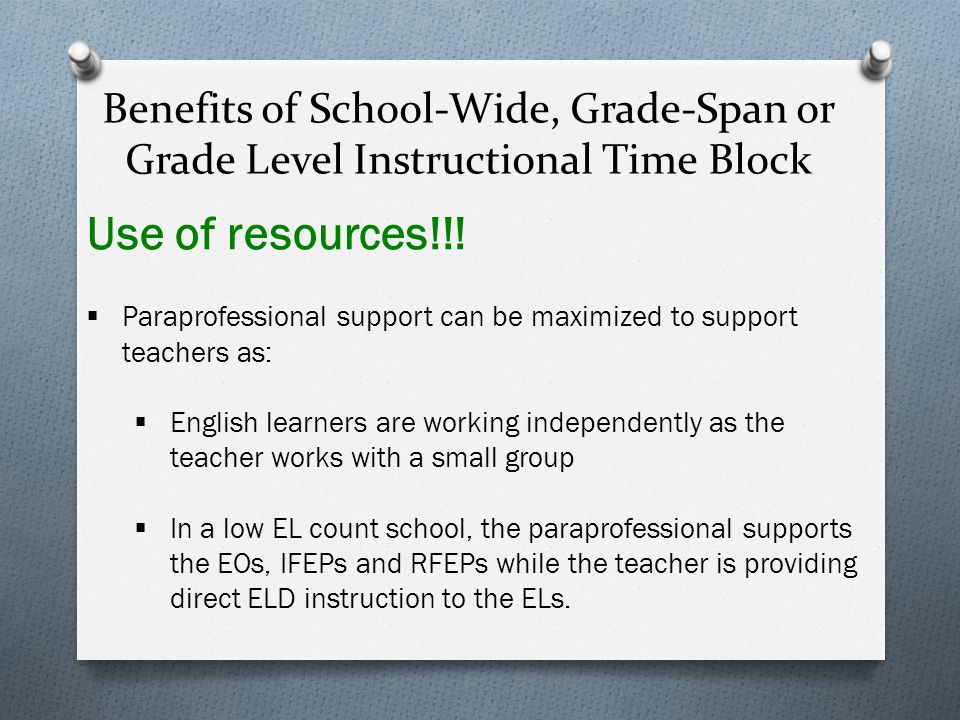 Benefits of School-Wide, Grade-Span or Grade Level Instructional Time Block Monitoring of ELD Instruction!!.