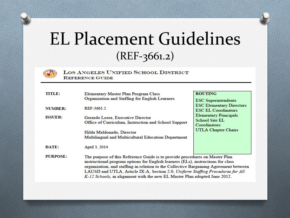 EL Placement Factors  Selected Master Plan Program  Structured English Immersion (K-5)  Mainstream English Program (K-5)  Transitional Bilingual Education (K-3)  Maintenance Bilingual Education (K-5) and  Dual Language Two-Way Immersion (K-5)  English Language Proficiency  Academic Needs