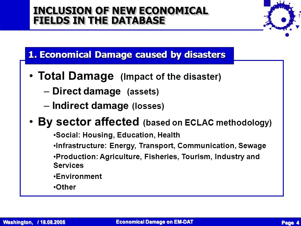 Washington, / 18.08.2005 Economical Damage on EM-DAT Page 5 Use of various sources Not systematically entered yet Used when no other information available 2.