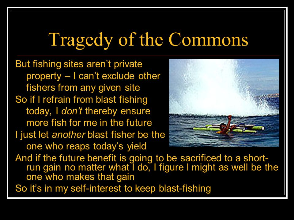 Tragedy of the Commons Hence a commons – a resource to which everyone has free access – becomes a tragedy – none of the users has an incentive to conserve it, even though they'd all be better off if it were conserved Private property may not be the only solution to the tragedy of the commons (others include legislation and peer pressure) – but it's one frequently recommended solution