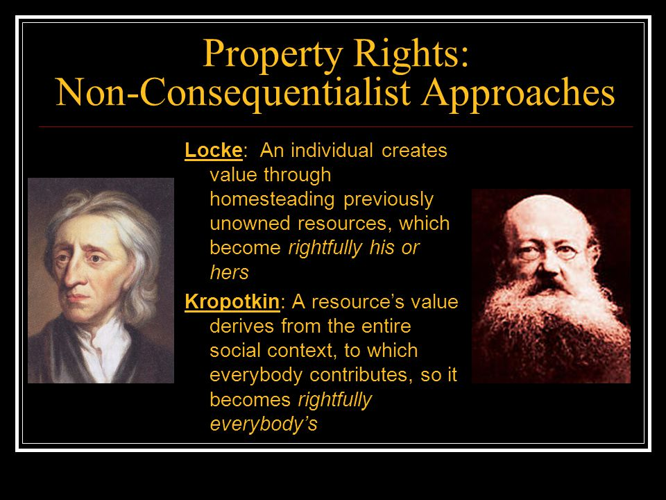 Implications for Intellectual Property On a Kropotkinite view, private intellectual property (copyrights and patents) will obviously be illegitimate, like all other property What about on a Lockean view.