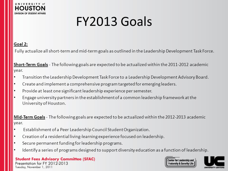 FY2013 Goals Goal 3: Grow the culture of civic responsibility on campus.