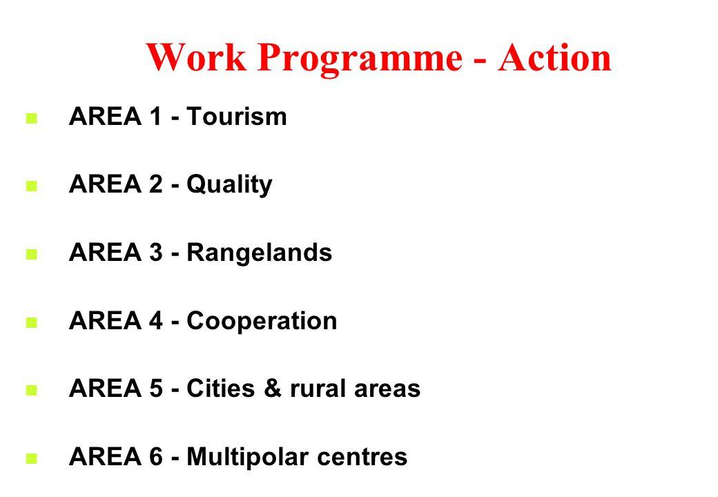 Work Programme - Action AREA 1 - Tourism AREA 2 - Quality AREA 3 - Rangelands AREA 4 - Cooperation AREA 5 - Cities & rural areas AREA 6 - Multipolar centres