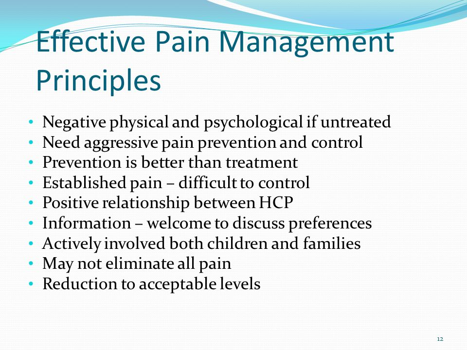 Neonates as young as 24- weeks feel pain Ascending nerve tracts develop earlier than the pain inhibiting nerve tracts Neonates exposed to repeated painful stimuli show increasing sensitivity No understanding of pain and unable to self report Neonatal/Infant Pain Scale (NIPS) Birth-2 Years 13