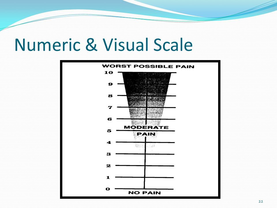 The Word-Graphic Rating Scale Point the finger where there is no pain and run your finger to the worst possible pain.