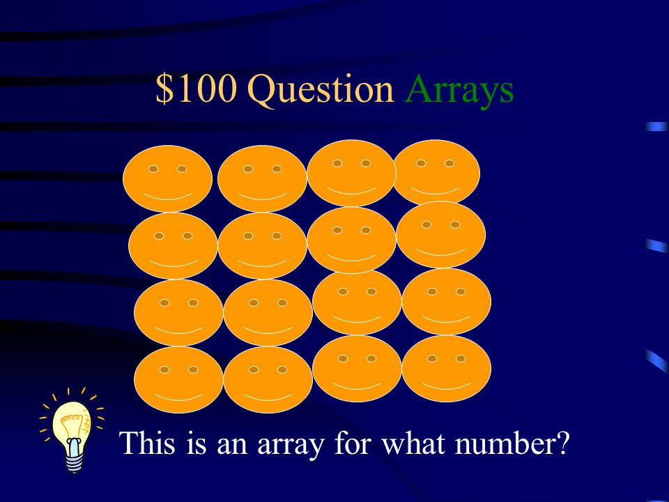 $100 Question Arrays This is an array for what number?