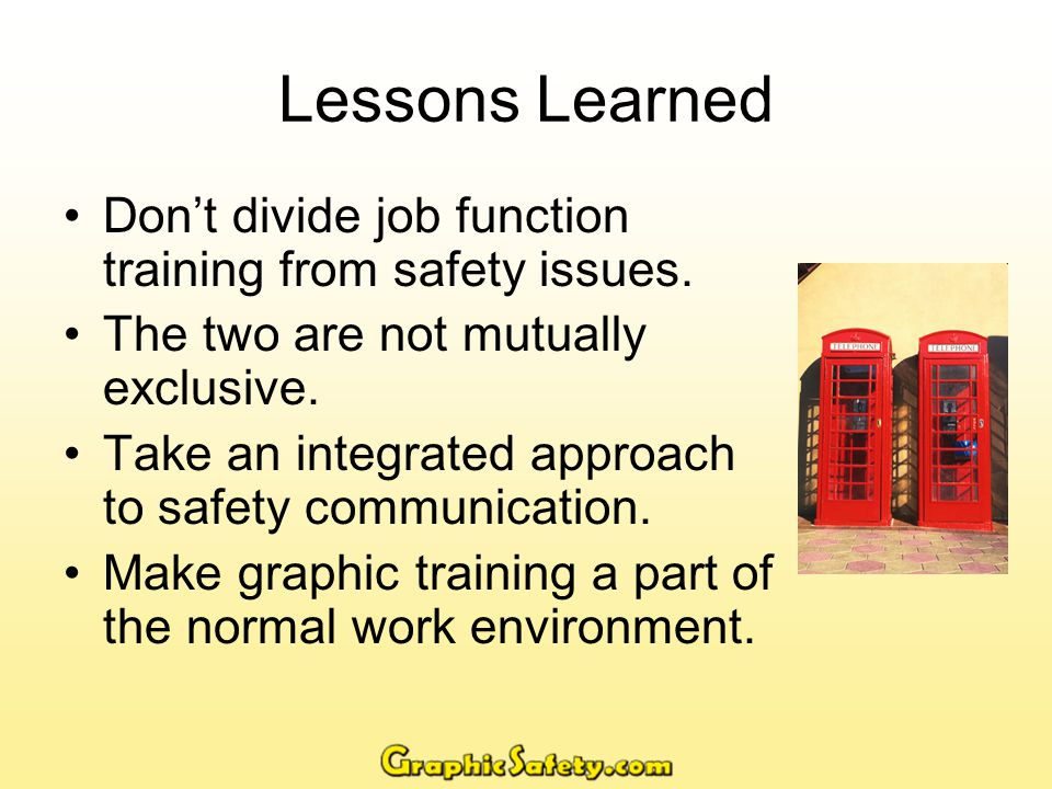 Integrated Approach Safety Department should be training department.