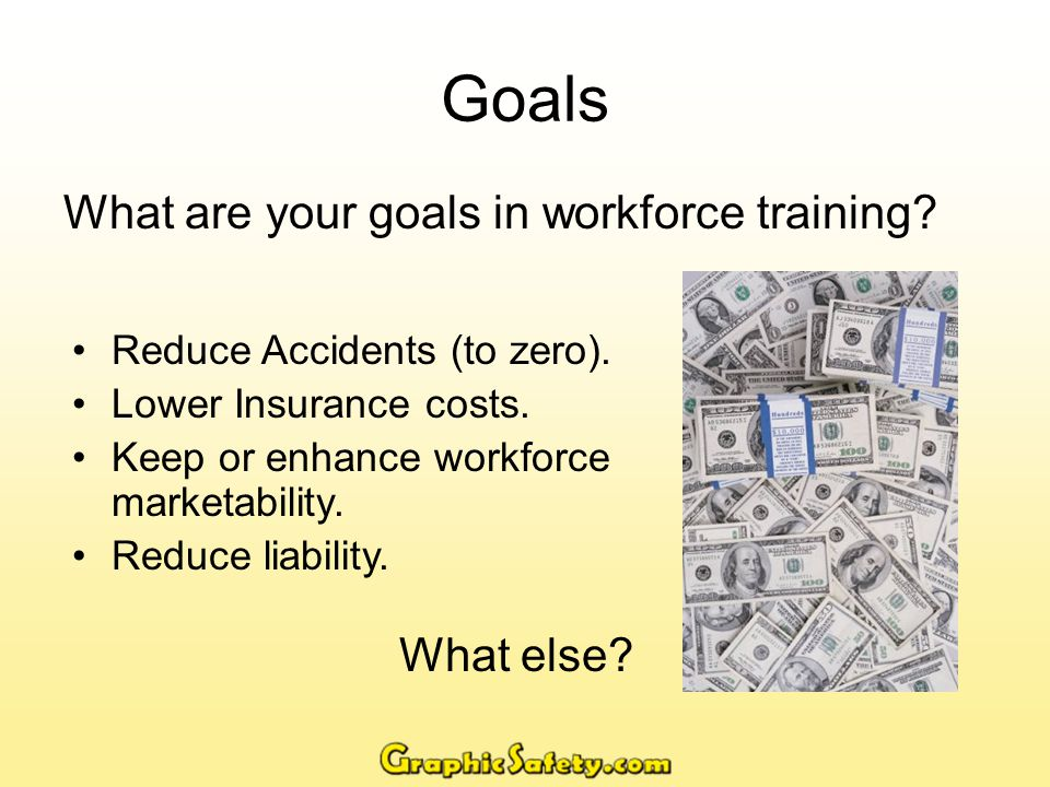 Goals Continued…..Further goals in workforce training.