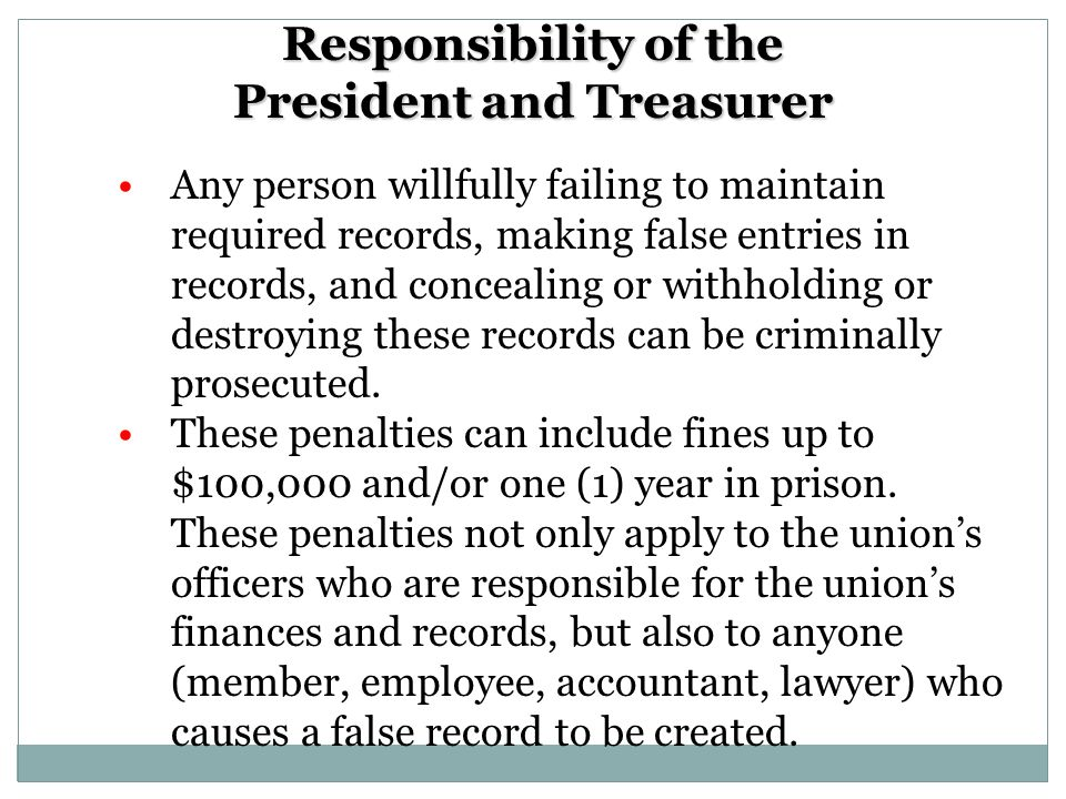 What records must be maintained.