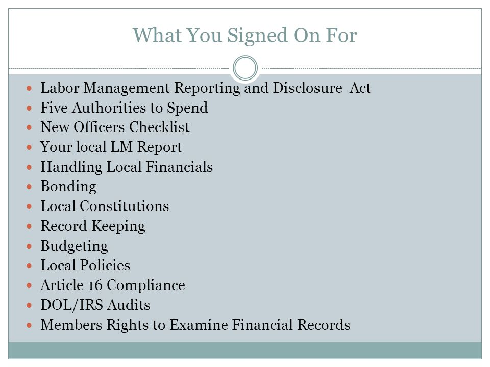 LMRDA Labor Management Reporting and Disclosure Act, 1959 as amended This is the law.