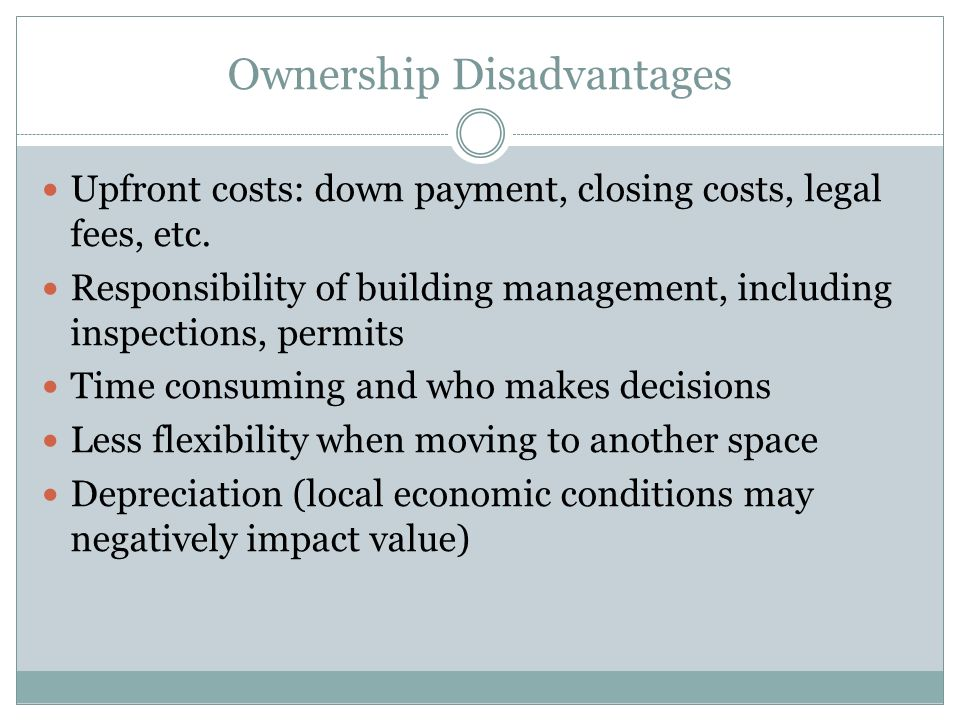 Leasing Advantages Initial lower costs.