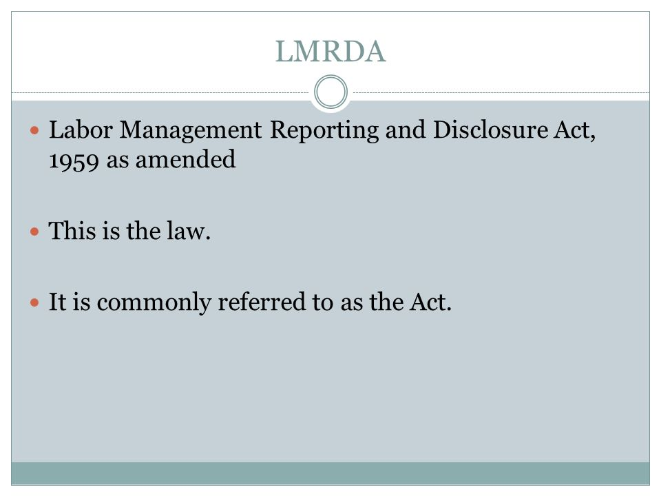 How did the LMRDA come about.
