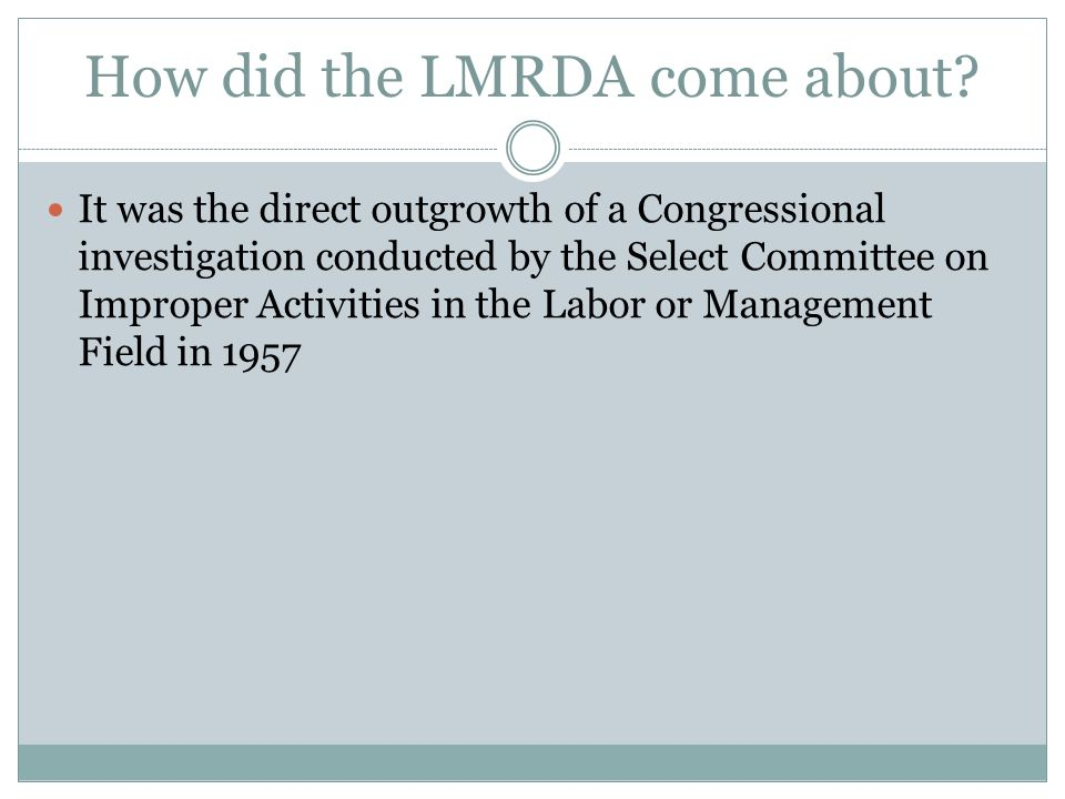 Why was the LMRDA created.