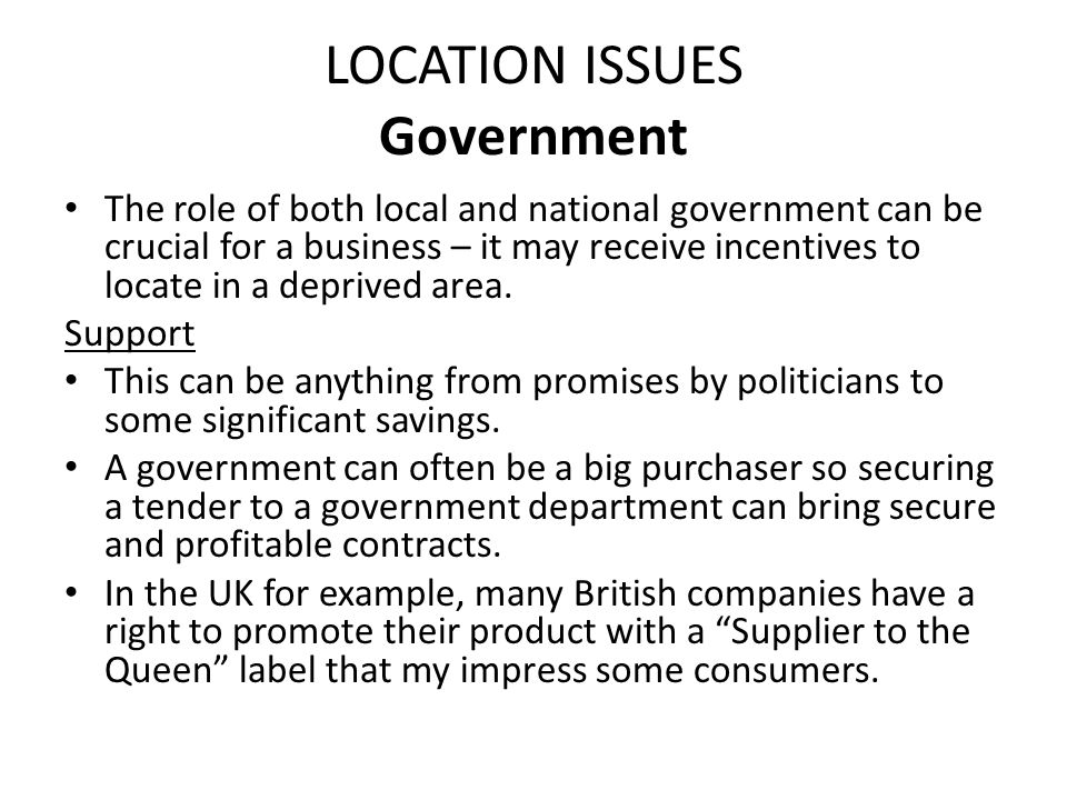 LOCATION ISSUES Government In what form is government support.