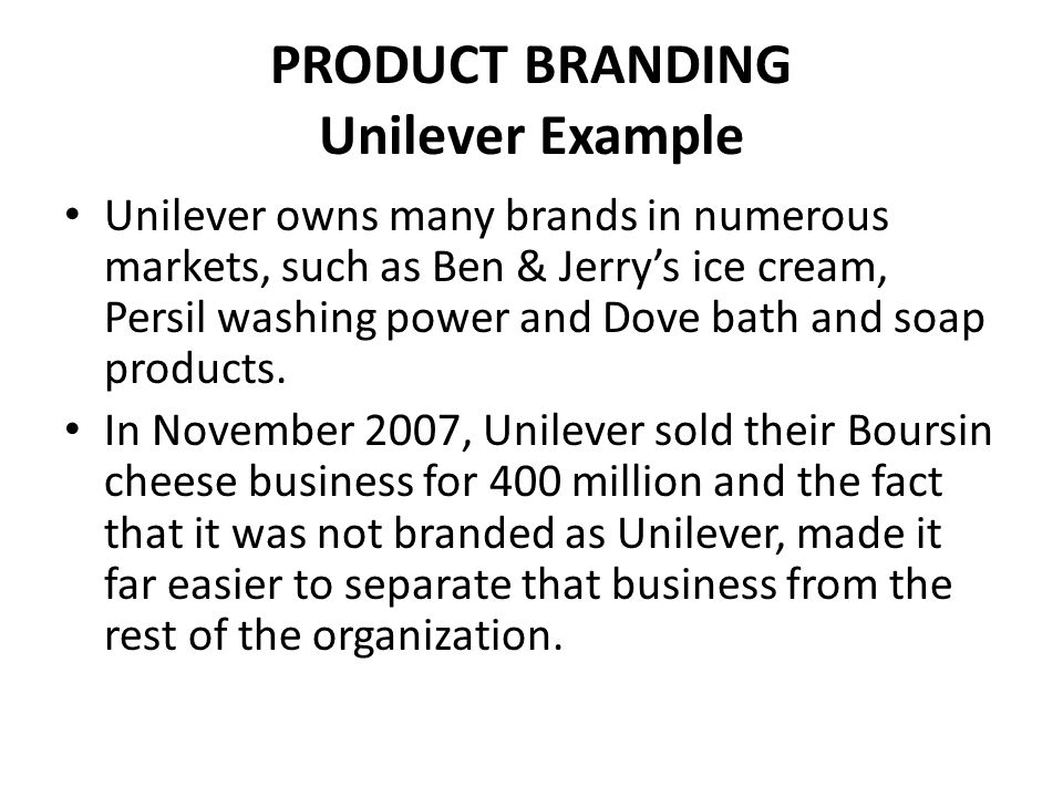 COMPANY BRANDING Company branding can have similar benefits to family branding, but across a whole company's range.
