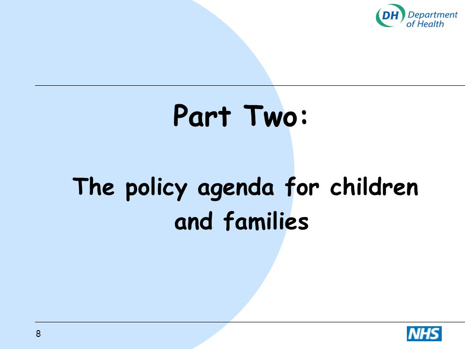 9 The policy agenda for children and families l Priorities: reducing poverty and social exclusion, best start in life, education l Prevention and early intervention l Progressive universalism l Balancing support with challenge l Integration of services in children's centres l Health led during pregnancy to 3 years l Choice for parents from a range of different sources of support l Using what we know about risks and protective factors and what works