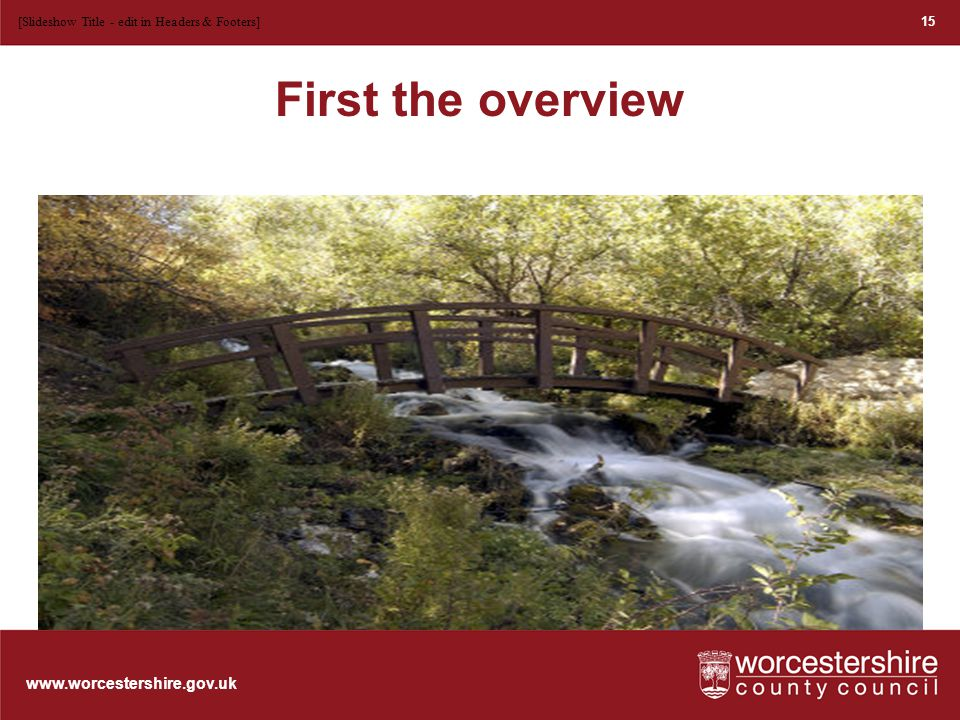 www.worcestershire.gov.uk The different elements – the stream Currents within the stream are always present in the form of: Basic skills Subject skills Personal learning and thinking skills Attitudes and attributes 16 [Slideshow Title - edit in Headers & Footers]