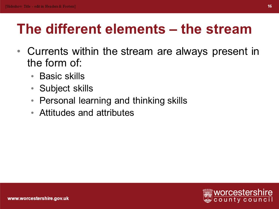 www.worcestershire.gov.uk The different elements – the bridge The bridge represents an overarching theme It has the potential to help us on our learning journey.