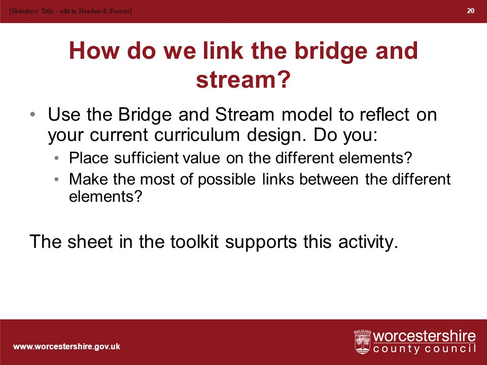 www.worcestershire.gov.uk plenary These are the tools so far What would be a useful staff meeting Blank time line of curriculum design 21 [Slideshow Title - edit in Headers & Footers]