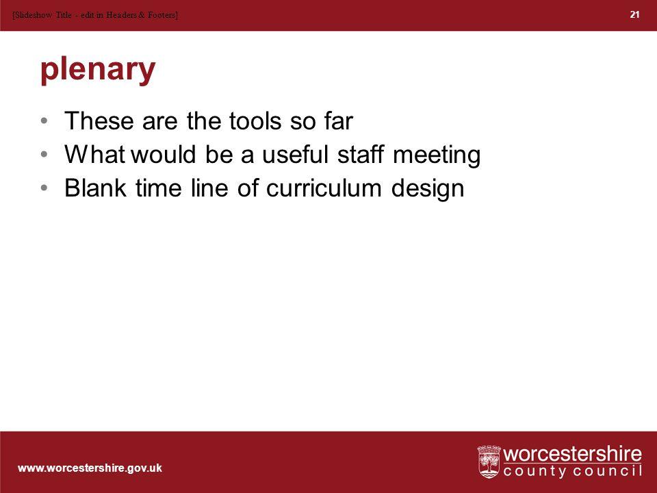 www.worcestershire.gov.uk Break time! 22[Slideshow Title - edit in Headers & Footers]