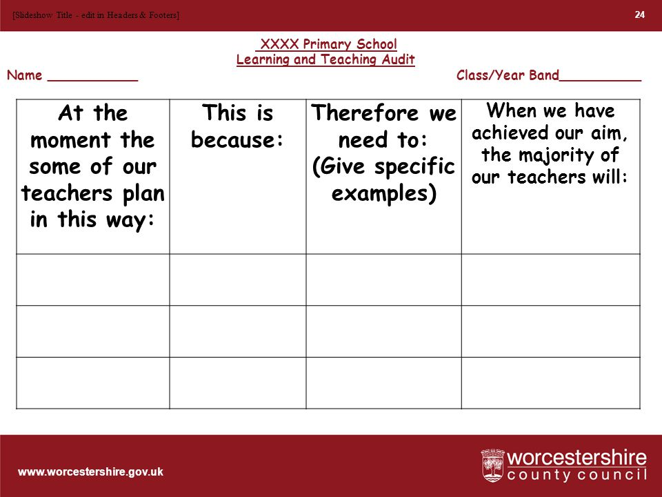www.worcestershire.gov.uk 25 [Slideshow Title - edit in Headers & Footers] At the moment the majority of our learners: This is because: Therefore we need to: (Give specific examples) When we have achieved our aim, the majority of our learners will: XXXX Primary School Learning and Teaching Audit Name ___________ Class/Year Band__________