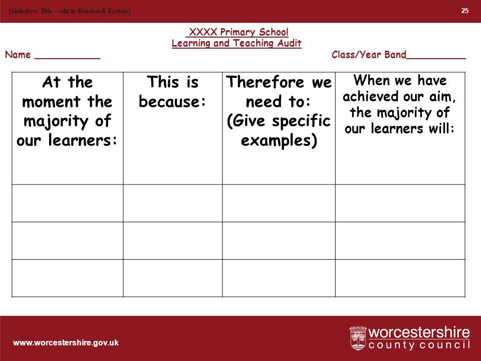 www.worcestershire.gov.uk 26 [Slideshow Title - edit in Headers & Footers]