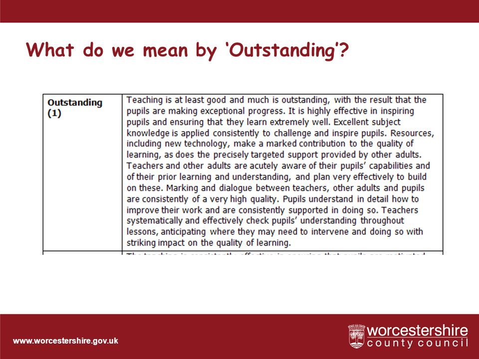 www.worcestershire.gov.uk Outstanding lessons: the key feature pupils make exceptional progress....(because marking and) dialogue between teachers, other adults and learners are consistently of a very high quality. Ofsted Evaluation Schedule, 2009 32 [Slideshow Title - edit in Headers & Footers]