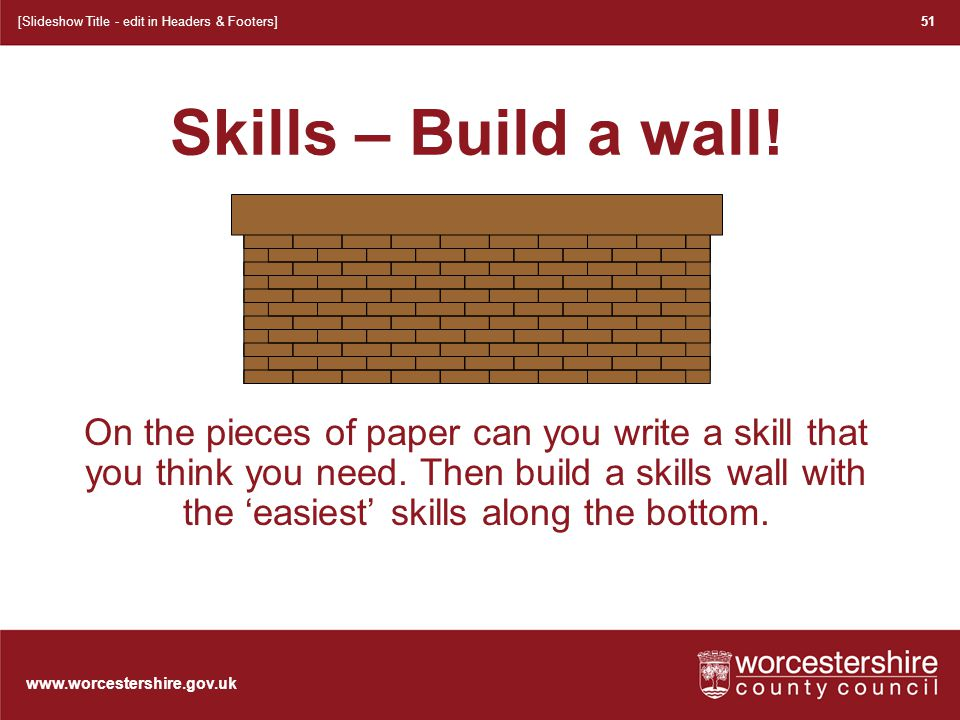 www.worcestershire.gov.uk A wall our children built 52 [Slideshow Title - edit in Headers & Footers] Listening Decision making Group work