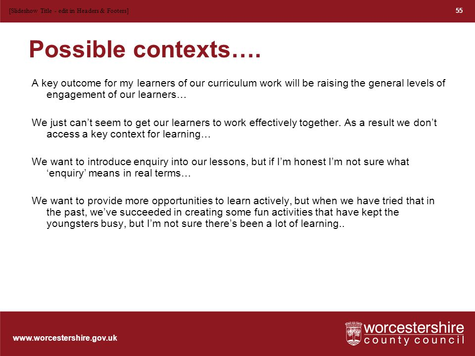 www.worcestershire.gov.uk Conference ideas – starters.